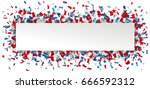 header with paper banner and... | Shutterstock .eps vector #666592312