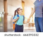 parent and pupil of primary... | Shutterstock . vector #666593332