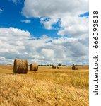 Bales Of Straw In Stubble Field ...