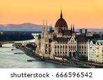 budapest  hungary. aerial view... | Shutterstock . vector #666596542