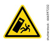 falling object warning sign ... | Shutterstock .eps vector #666597232