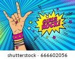 pop art background with female... | Shutterstock .eps vector #666602056