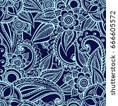 floral seamless pattern. doodle ... | Shutterstock .eps vector #666605572