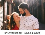 portrait of a happy couple of...   Shutterstock . vector #666611305