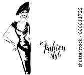 black and white retro fashion... | Shutterstock .eps vector #666611722