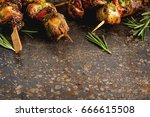 mini barbecue with tuna on a... | Shutterstock . vector #666615508