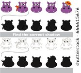 hippo faces set to find the... | Shutterstock .eps vector #666615676