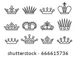 crown set. vector line art... | Shutterstock .eps vector #666615736