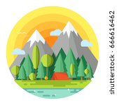 summer camp. landscape with red ... | Shutterstock .eps vector #666616462