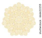 outline mandala gold background....   Shutterstock .eps vector #666622255
