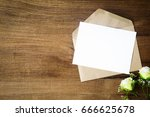 top view of envelope and blank... | Shutterstock . vector #666625678