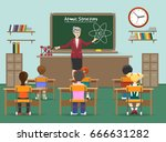 physics lesson. female teachers ... | Shutterstock .eps vector #666631282