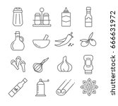 set of seasoning and spices... | Shutterstock .eps vector #666631972
