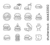 set of burger related vector... | Shutterstock .eps vector #666632002