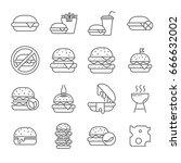 set of burger related vector... | Shutterstock .eps vector #666632002
