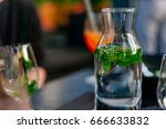 fresh and cold water glass on...   Shutterstock . vector #666633832