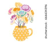 cute vase with dots with... | Shutterstock .eps vector #666634396