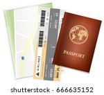 passport  airplane ticket and... | Shutterstock .eps vector #666635152