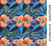 seamless pattern abstract... | Shutterstock . vector #666635668