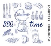 doodle set of bbq   grill ... | Shutterstock .eps vector #666638905
