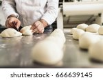 baker kneading dough in a... | Shutterstock . vector #666639145