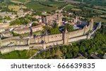 Aerial Top View Of Carcassonne...