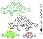 dino stegosaurus  the labyrinth ... | Shutterstock .eps vector #666650176