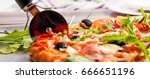pizza with dry cured ham and... | Shutterstock . vector #666651196