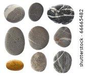 beach stones. isolated on white.   Shutterstock . vector #66665482
