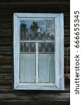 white window curtains in wooden ... | Shutterstock . vector #666655345