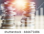 stacked of coin money with... | Shutterstock . vector #666671686