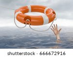 man is drowning in ocean and is ... | Shutterstock . vector #666672916