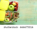 lunch box for healthy eating at ... | Shutterstock . vector #666675316