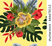 tropical seamless floral... | Shutterstock .eps vector #666678112