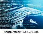 hacker using laptop. lots of... | Shutterstock . vector #666678886