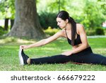 young fitness woman exercise in ... | Shutterstock . vector #666679222