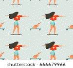 hand drawn vector cartoon... | Shutterstock .eps vector #666679966