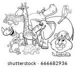 black and white cartoon... | Shutterstock . vector #666682936
