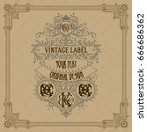 old vintage card with floral...   Shutterstock .eps vector #666686362