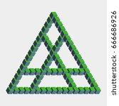 impossible triangle constructed ... | Shutterstock .eps vector #666686926