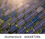 aerial view of solar panels ... | Shutterstock . vector #666687286