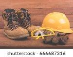 standard construction safety... | Shutterstock . vector #666687316