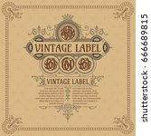 old vintage card with floral... | Shutterstock .eps vector #666689815