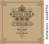 old vintage card with floral... | Shutterstock .eps vector #666689902