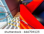 staircase painted in red.... | Shutterstock . vector #666704125