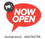 now open sign with chat bubble... | Shutterstock .eps vector #666706798