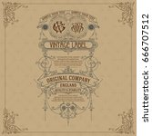 old vintage card with floral... | Shutterstock .eps vector #666707512