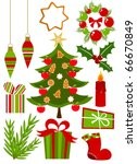 Christmas icons ans symbols collection in red and green colors. Vector illustration - stock vector