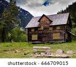 cabin in the woods | Shutterstock . vector #666709015