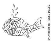 whale doodle with abstract... | Shutterstock .eps vector #666710182